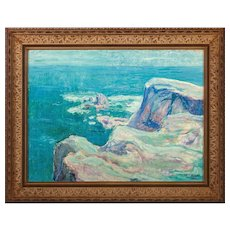 """""""Seaside Cliffs"""" Original Signed Oil On Canvas - Late 19th/Early 20th Century"""