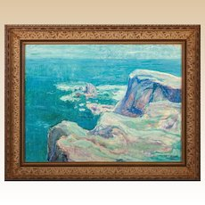 """Seaside Cliffs"" Original Signed Oil On Canvas - Late 19th/Early 20th Century"
