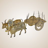 Miniature Sterling Silver Filigree and Enamel Guilloche Bull Drawn Cart or Wagon, Signed Topazio Portugal