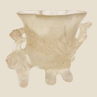 Antique Chinese Carved Rock Crystal Brush Washer, With Lovely Flowers, High Relief