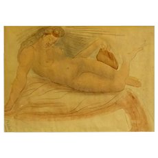 "Original Signed Watercolor and Pencil ""Reclining Nude"" - Red Tag Sale Item"