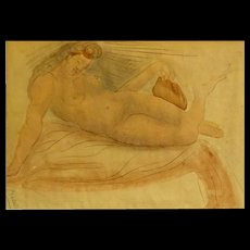 """Original Signed Watercolor and Pencil """"Reclining Nude"""" - Red Tag Sale Item"""