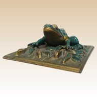 Frog Paperweight - Well-Detailed and Great Color - Heavy Metal
