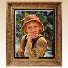 "FRANCISCO J.J.C. MASSERIA (Argentinian 1926 - 2002) - ""Sonriendo"" Portrait Of A Child - Original Signed Oil on Canvas"