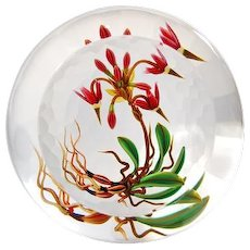 "CHRIS BUZZINI - Glass Art ""Star"" One-Of-One 'Shooting Star Botanical' Paperweight - Very Different Presentation With Partially Textured And 'Window' On Top"