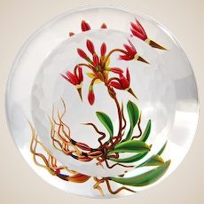 """CHRIS BUZZINI - Glass Art """"Star"""" One-Of-One 'Shooting Star Botanical' Paperweight - Very Different Presentation With Partially Textured And 'Window' On Top"""