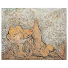 """DESIDERIUS ORBAN (Hungarian, 1884-19-) Original Signed """"Still Life With Fruits"""" Pastel and Acrylic On Masonite"""