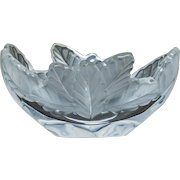 LALIQUE, FRANCE - Signed Clear and Frosted Chene Bowl - circa 1980s