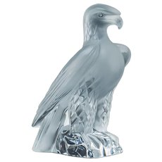 LALIQUE, FRANCE Rare Falcon. Clear and Frosted Glass, Signed