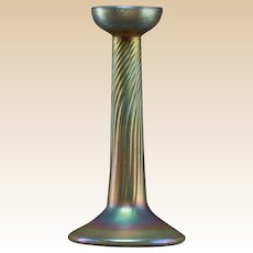 TIFFANY STUDIOS Gold Favrile Glass Candlestick, c. 1910