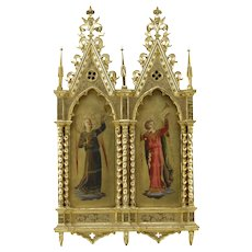 19th Century Italian School Hand Painted Religious Icons in Giltwood Gothic style Architectural Frame.  Depicts angelic musicians painted on wooden panels. - Red Tag Sale Item