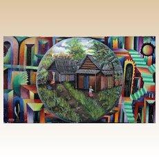 JEAN MERANCIEN MITHO (20th Century) -Huge Original Signed Haitian Folk Art Oil On Canvas, Surrealism and Cubism