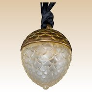 LALIQUE (France) - Crystal and Gilt Metal Acorn Replique Perfume Pendant for Raphael