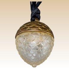 LALIQUE (France) - Crystal and Gilt Metal Acorn Replique Perfume Pendant for Raphael