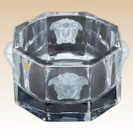 VERSACE For ROSENTHAL -Signed Clear and Frosted Crystal Bowl - 5  1/8 inches Diameter