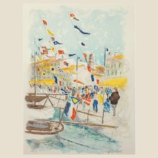 Urbain Emmanuel Huchet (French b. 1930) Limited Edition Signed/Numbered Lithograph In Colors