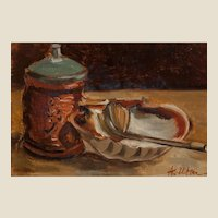 """ANDRE UTTER (French, 1886 -1948) Original Signed Oil On Canvas """"Nature Morte a la Coquille St Jacques"""""""