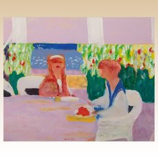 "ROBERTO ORTUNO (Spanish born 1953) ""HOLIDAY"" Original Signed Oil on Canvas"