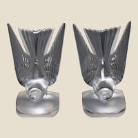 "LALIQUE Pair of  ""Hirondelle""  Swallows Bookends, Circa 1980s"