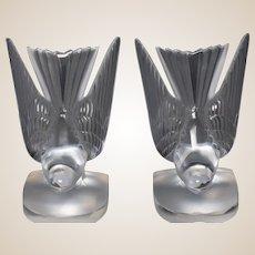 "LALIQUE Pair of  ""Hirondelle""  Swallows Bookends, Circa 1980s"