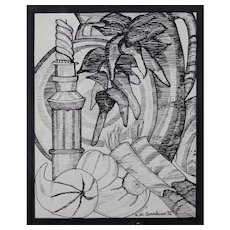 "Original Signed Ink on Paper ""Still Life"""