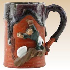 19th Century Japanese Sumida Gawa Pottery Cup, With Villager On Tree Branch in High Relief, Partial Flambe