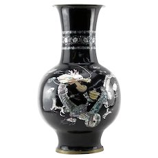 LARGE Oriental Black Lacquered Mother of Pearl Vase With Dragon On A Floral Motif -- Very Impressive!