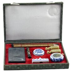 Vintage Calligraphy Brush Writing Set In Original Box