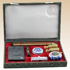 Vintage Calligraphy Brush Writing Set In Original Box