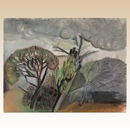 "C. ZEITOUN ( 20th Century) -  Signed Original Gouache and Pastel ""The Storm"""