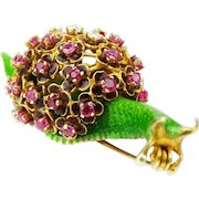 Vintage Enameled 14 Karat Yellow Gold SNAIL Brooch with Ruby and Diamond Accents,