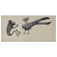 NICOLAS GARCIA URIBURI (Argentinian,  1937 - 2016) Original Signed Pen And Ink Drawing