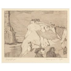 "KARL HOFER (German, 1878 - 1955) ""Spazierganger"" Signed and Titled Etching"