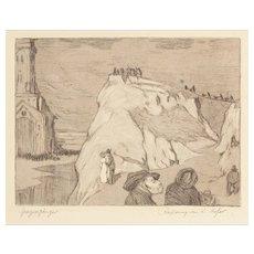 """KARL HOFER (German, 1878 - 1955) """"Spazierganger"""" Signed and Titled Etching"""