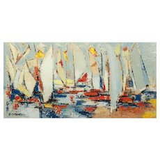 """""""Sailboats In The Harbor"""" Original Signed Acrylic On Canvas,"""