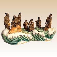 Very Rare Eight Immortals Multi-Figural Chinese Mudmen Sculpture