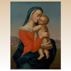 Original Large Oil On Canvas - Madonna and Child - Tempi Madonna - Very Large and Moving Depiction.