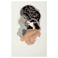 "ERTE (Roman de Tirtoff) (Russian/Frech 1892 - 1990) - ""Autumn Tiger"" Signed Embossed Screenprint, c 1979"