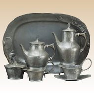 Art Nouveau Six Piece Kayserzinn Pewter Tea and Coffee Service