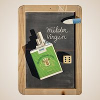 """Huge Signed Lithograph In Colors - Salem Cigarette Poster """"Milder Virgin"""""""