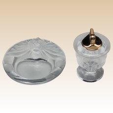 LALIQUE (France) - Clear and Frosted Crystal Lion Ashtray and Cigar Lighter
