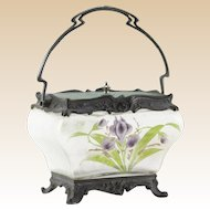 ART NOUVEAU Enameled Glass Dresser/Trinket Box, Metal Mounted