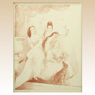 "MARIE LAURENCIN (French, 1885 - 1956)  Signed Color Lithograph ""Three Women"""