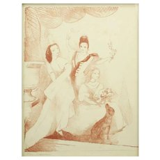 """MARIE LAURENCIN (French, 1885 - 1956)  Signed Color Lithograph """"Three Women"""""""