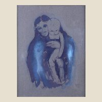 """EUROPEAN SCHOOL Signed Original Ink And Gouache On Gray Paper, """"Mother And Child""""  Late 19th/Early 20th Century"""