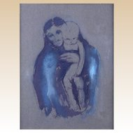 "EUROPEAN SCHOOL Signed Original Ink And Gouache On Gray Paper, ""Mother And Child""  Late 19th/Early 20th Century"