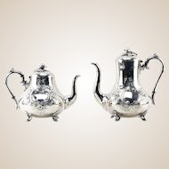 Antique English Silver Plate Coffee and Tea Pot By Sturges