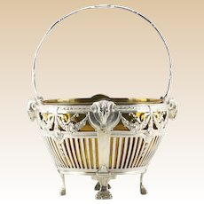 Antique German 800 Silver Basket with Brass Liner. Signed with German hallmarks.