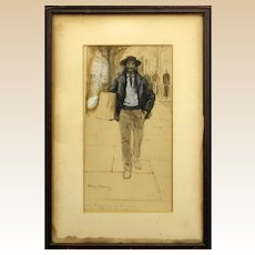 "THOMAS FOGARTY (American 1873-1938) Original Signed Watercolor and Gouache ""Man With Bundle"""