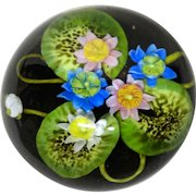 PAUL J. STANKARD (American, Born  1943)  Signed/Dated  Art Glass Sculpture Paperweight- Flowers On Lily Pads , Root People,c.1987